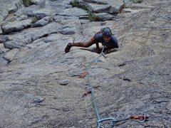 Rock Climbing Photo: The 1st pitch has some sustained thin climbing on ...