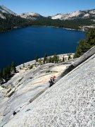 Rock Climbing Photo: Alean climbing up the layback above Tenaya Lake