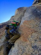 Rock Climbing Photo: Hanson starting up the hands section of Ivory Towe...