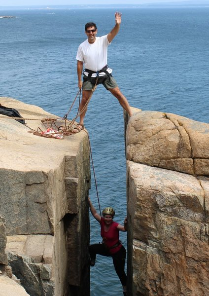 Sheri and I climbing The Great Chimney 5.5 at Otter Cliffs, Acadia National Park August 2016
