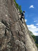 Rock Climbing Photo: RH leading P1 up the diagonal dike (Photo taken fr...
