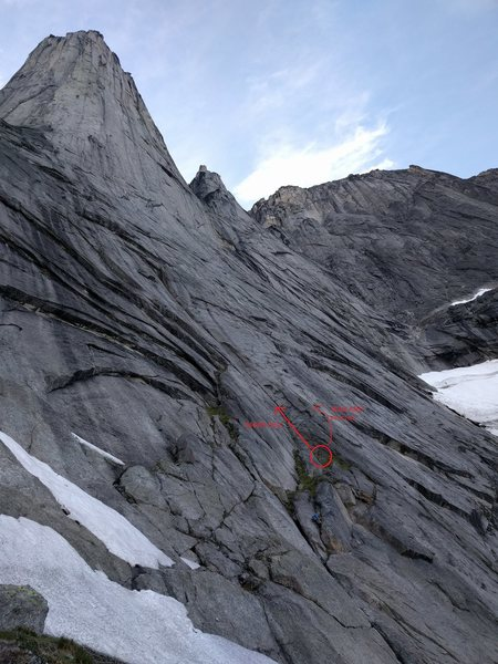 "Rock Climbing Photo: The ledge-y first pitches of ""Moby Dick""..."