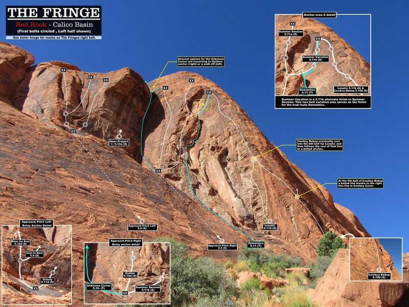 Routes on the left half of The Fringe. First bolts circled. Cheers.(Best viewed at full size)