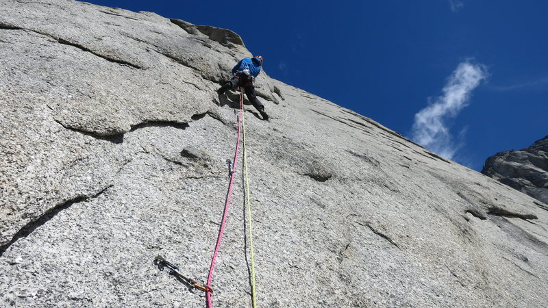 Rock Climbing Photo: The crux pitch, a series of shallow flakes with po...