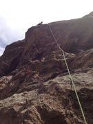 Rock Climbing Photo: Above the roof difficulties on pitch 2.