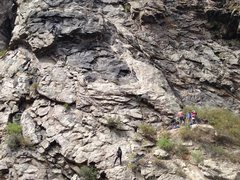 Rock Climbing Photo: Climbers on P1 of Black Gold. 4 others at the star...
