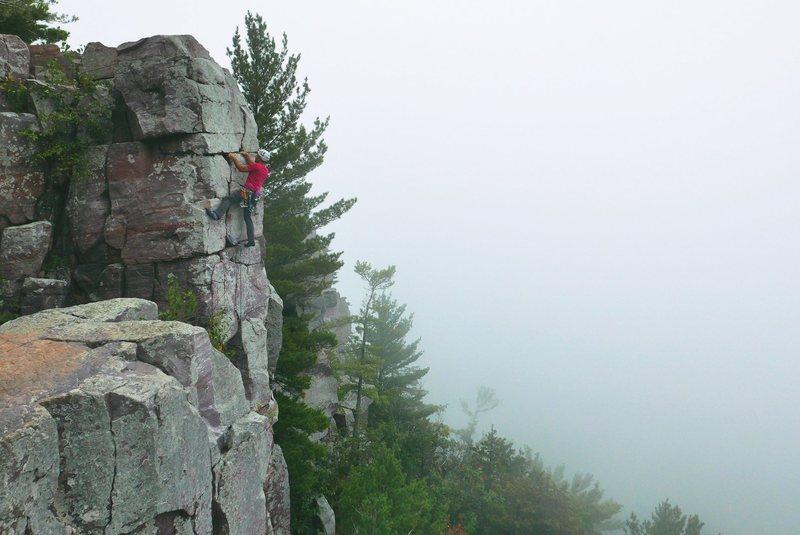 Rock Climbing Photo: Satermo, onsight, August 28, 2016.  Weird foggy mo...