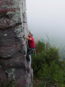 Rock Climbing Photo: Satermo leading the awesome climb on a weird foggy...