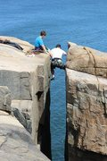 Rock Climbing Photo: Jonah belaying his dad at Otter Cliffs, Acadia Nat...