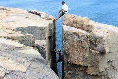 Rock Climbing Photo: Sheri and Randy climbing the Great Chimney at Otte...
