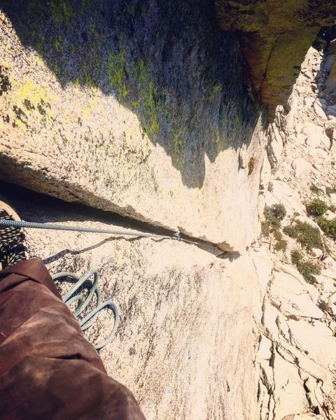 Rock Climbing Photo: looking down pitch one, at first belay stance next...