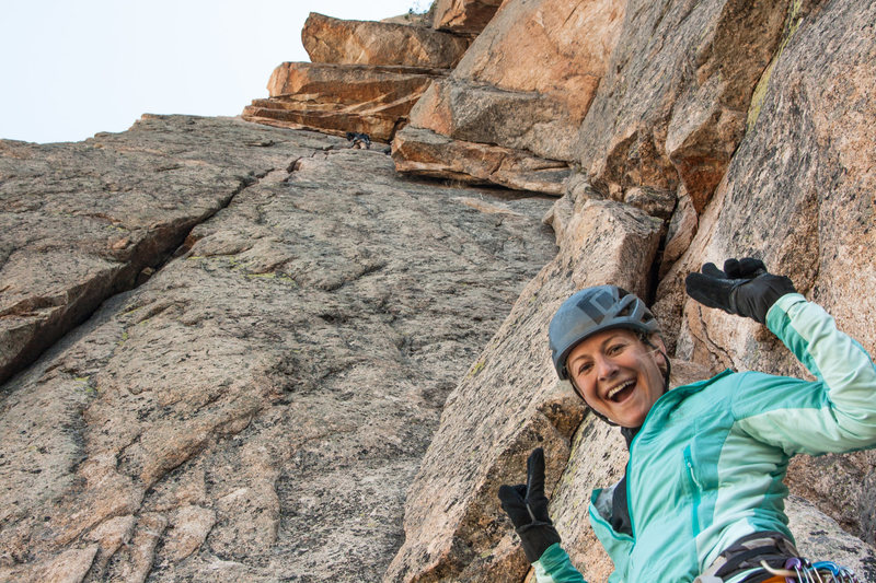 Sarah setting off on P3 below the stupid fun roof traverse pitch!