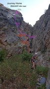 Rock Climbing Photo: Descent info for Journey Home (the red text that i...