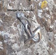 """Rock Climbing Photo: The """"Funky single-bolt rap anchor"""" as de..."""