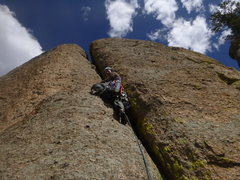 Rock Climbing Photo: Heading up the fun P2 crack.