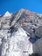 7 pitches to the top. Simul up to small ledge below slot ledge.