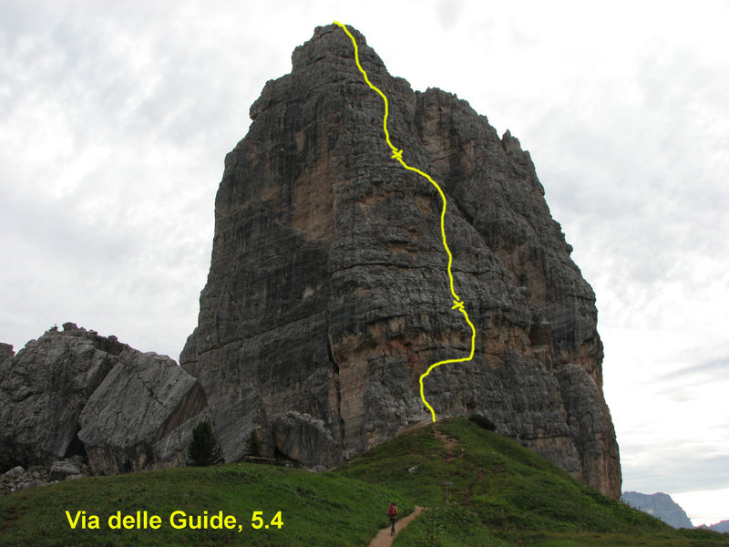 We did Via delle Guide in three pitches as drawn by the yellow line.