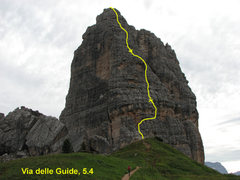 Rock Climbing Photo: We did Via delle Guide in three pitches as drawn b...