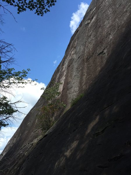 Better view of the angle of the route. The lower ledge is about 12-15 feet above the belay.