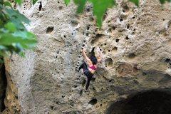 Rock Climbing Photo: kim high stepping her way to #3