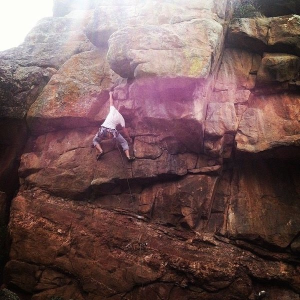 Moving through the crux. Long arms cut out a difficult move for me :)
