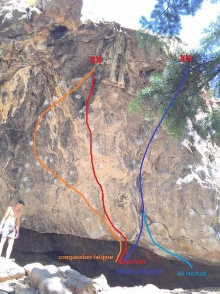 Low start extensions for routes in Nomad Cave. These routes all have boulder problem starts which lead into sport routes. Note* perspective is lost as the cave stretches back 15' not visible in the photo.