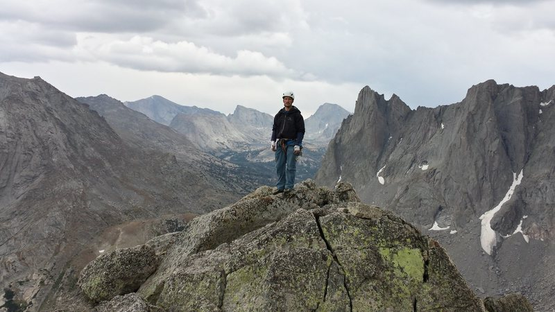 The view from the peak overlooking the south end of the Wind River Range.