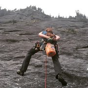 Rock Climbing Photo: Justin starting up the P2. Bucket o' Cheesey P...