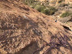 Rock Climbing Photo: Franziska following Pitch #1