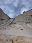 Rock Climbing Photo: Near the crux of P1....