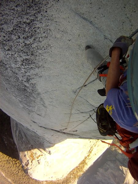Descending down the Half Dome Cables while they are down and w/o steps.  Good idea to bring gloves