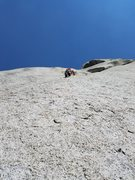 Eric Armstrong leading Pitch 1 after a scary approach to the first anchors