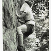 """Climbing on the center portion of Nubbin Face blindfolded and against the clock circa 1968-69?. Shoes are """"RR"""" (Royal Robbins, shorts by Scissors and Levi Strauss. I am the person in the photo, but i do not recall if the photographer was Richard Milller, Dennis Grabnegger, or Joe Ebner.  (it's been a while and i was blindfolded) just something to pass the time when traffic jams occurred on more serous routes and/or the route of interest was unavailable for whatever reason. it was fun. Guessing, it was 5.2 or 5.3 and still was blindfolded. but you had to change your apporach to route finding!"""