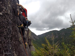 Rock Climbing Photo: Kevin leading the runout crux pitch (5.8+) during ...