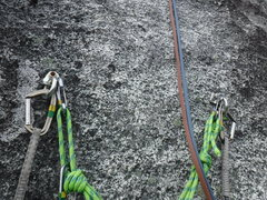 Rock Climbing Photo: The pitch 7 anchors.  These anchors have a yellowi...