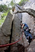Rock Climbing Photo: Setting off for an FA of a 3rd pitch 5.9 hidden co...