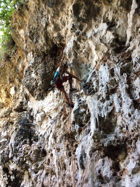 Rock Climbing Photo: Jean Lassus between cruxes on Los Hombres tambien ...
