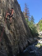 Rock Climbing Photo: Ascanio getting a quick rest after the tricky bott...