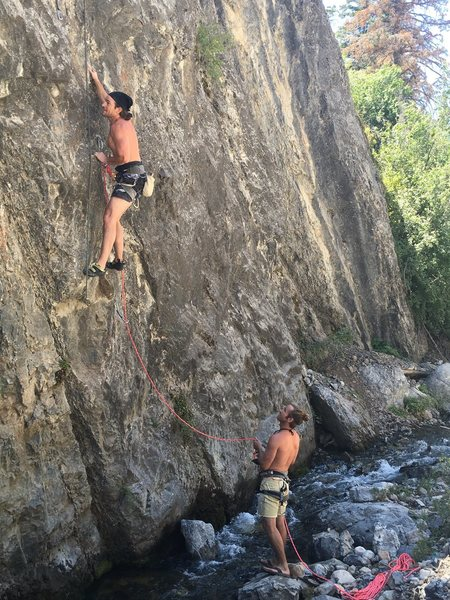 Rock Climbing Photo: Ascanio looking for the next hold before he slips ...