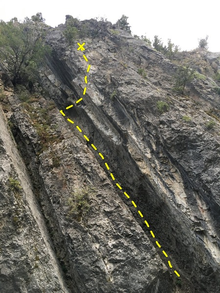 Ramp is between cliff sections and faces up stream