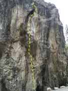 Rock Climbing Photo: Head up through bottom pod and then into light gre...