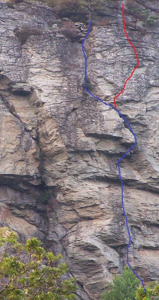 Rock Climbing Photo: In red with standard route in blue.