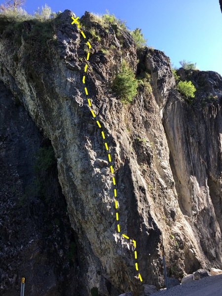 Rock Climbing Photo: Climbs on the right side of the arete in the light...