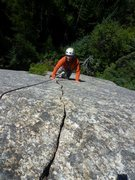 Rock Climbing Photo: The excellent finger crack crux of Starry Skies.