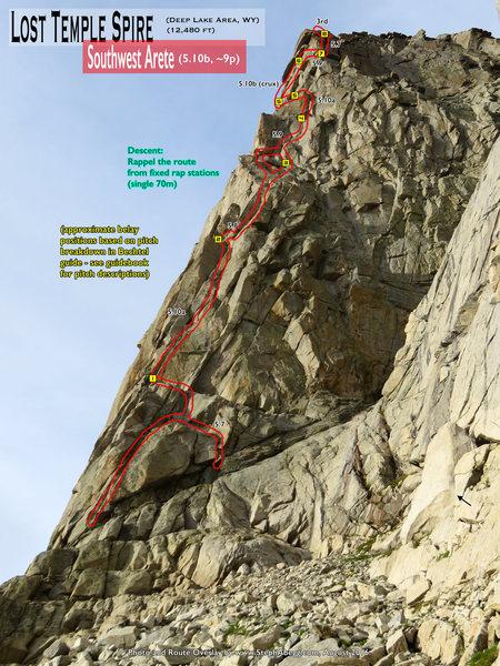 Rock Climbing Photo: Route Overlay SW Arete