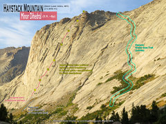 Rock Climbing Photo: Route Overlay Minor Dihedral and Grassy Goat Trail...
