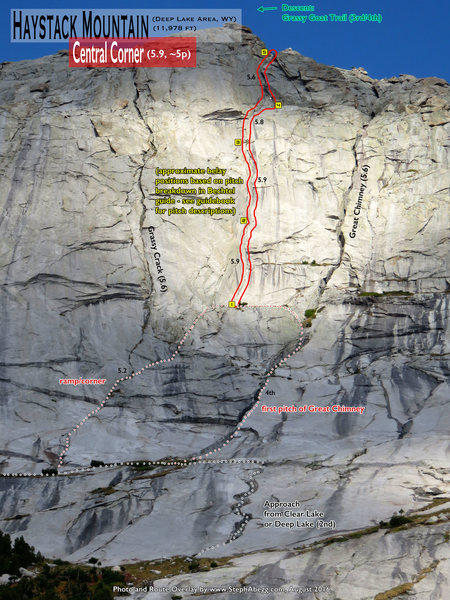 Rock Climbing Photo: Route Overlay Central Corner