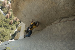 Rock Climbing Photo: Tyler transitioning out of the squeeze chimney int...