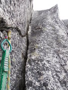 Rock Climbing Photo: looking at the OW from the belay. Wide but secure,...