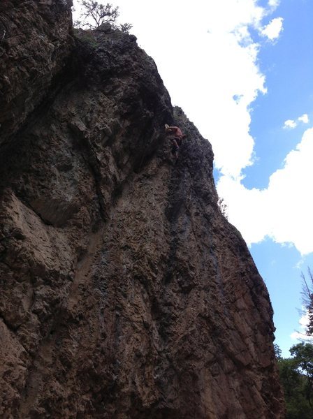 D.A. getting bucked off the crux and still catching his hat!